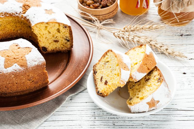 Homemade traditional fruit cake slices decorated with nuts and w royalty free stock photography