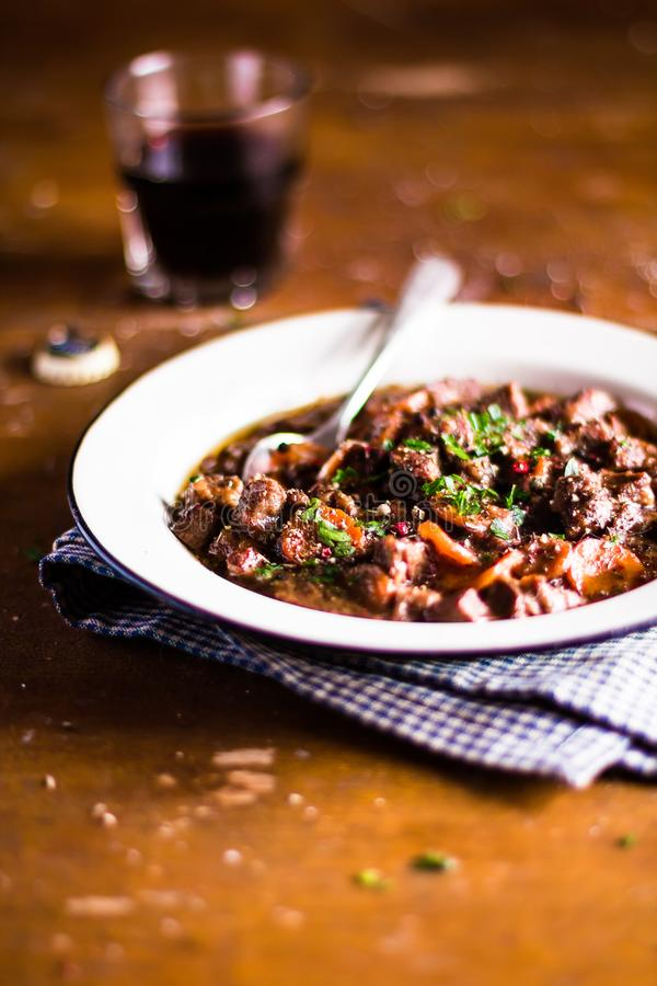 Homemade traditional irish beef stew or ragout royalty free stock image