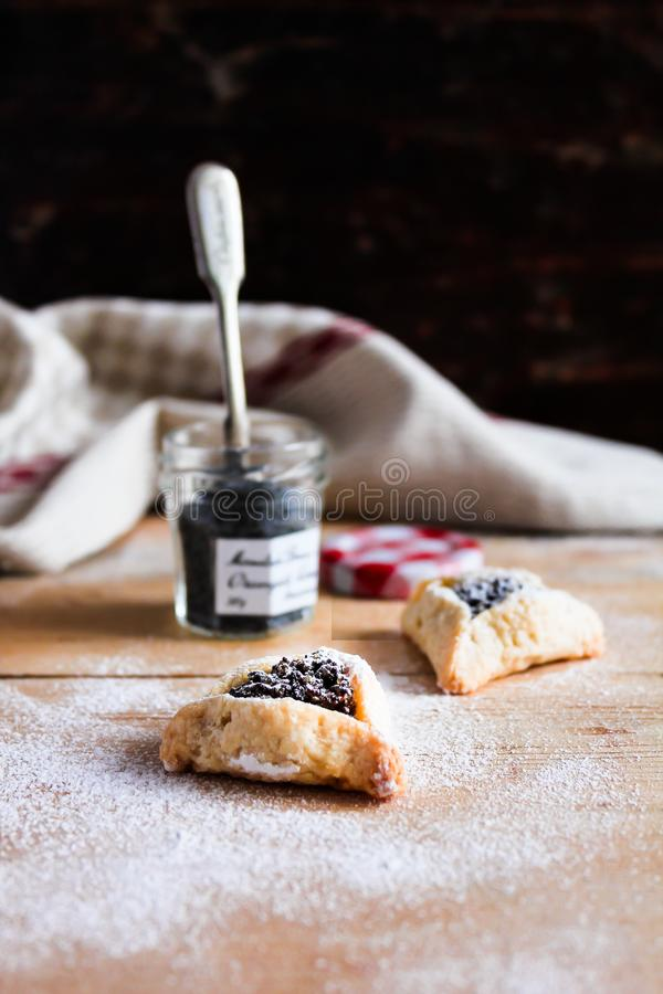 Homemade traditional jewish cookies Hamantaschen with dried plum and poppy seed with icing sugar for jewish holiday Purim royalty free stock photo
