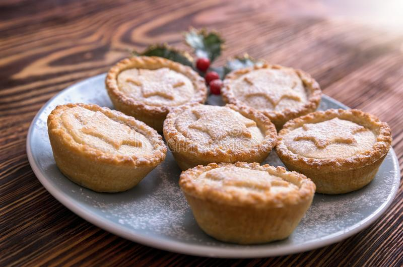 Homemade, traditional mince pies royalty free stock images
