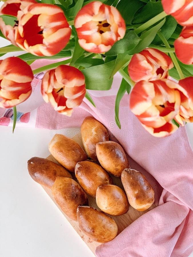 Homemade traditional Russian food, Pirozhki stock images