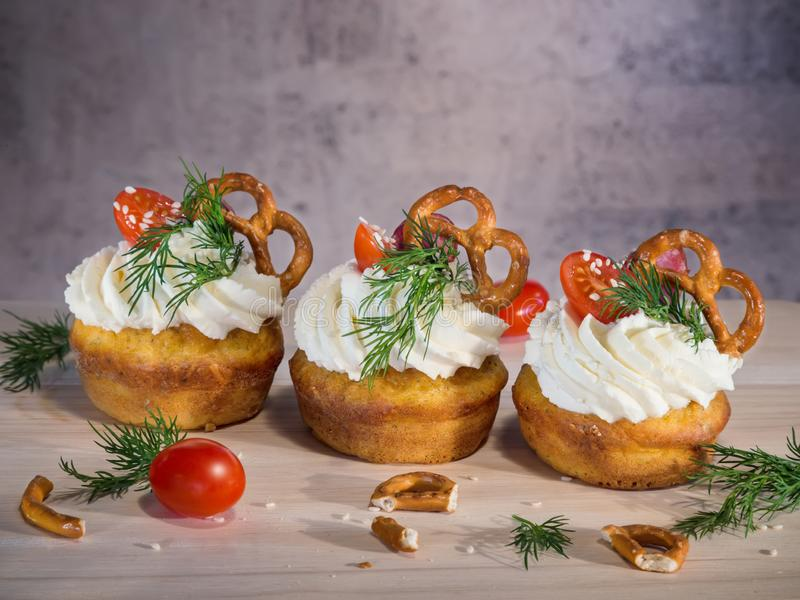 Homemade unsweetened savory appetizer cupcakes royalty free stock photo