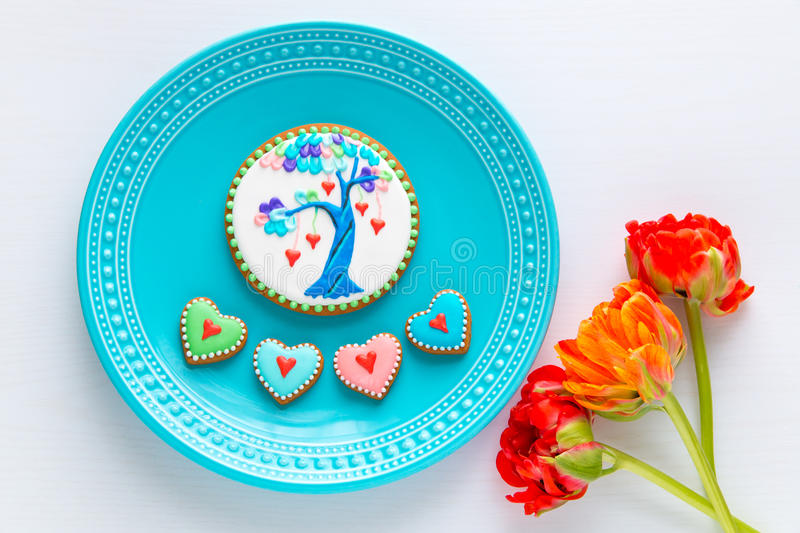 Homemade Valentines cookies and tulips flowers. stock image