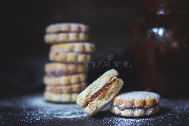 Homemade vanilla jam cookies, on dark background, with copy space royalty free stock photo