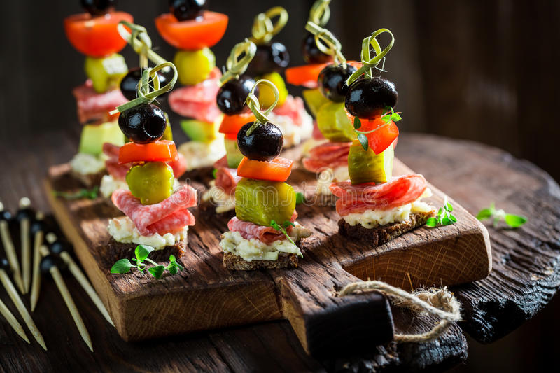 Homemade various finger food with fresh ingredients for snack stock images