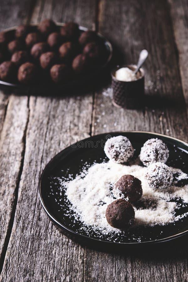 Homemade vegan chocolate balls, truffles royalty free stock photo