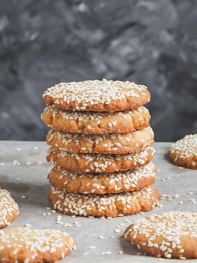 Free Homemade Vegan Tahini Cookies In Stack, Close Up Royalty Free Stock Image - 183629316