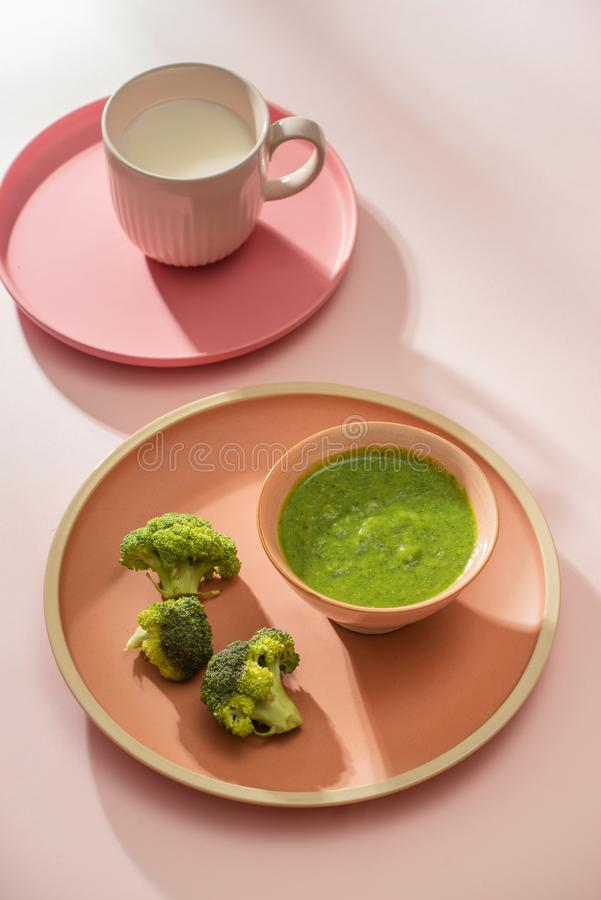 Homemade vegetable baby food. Broccoli puree for baby.  stock images
