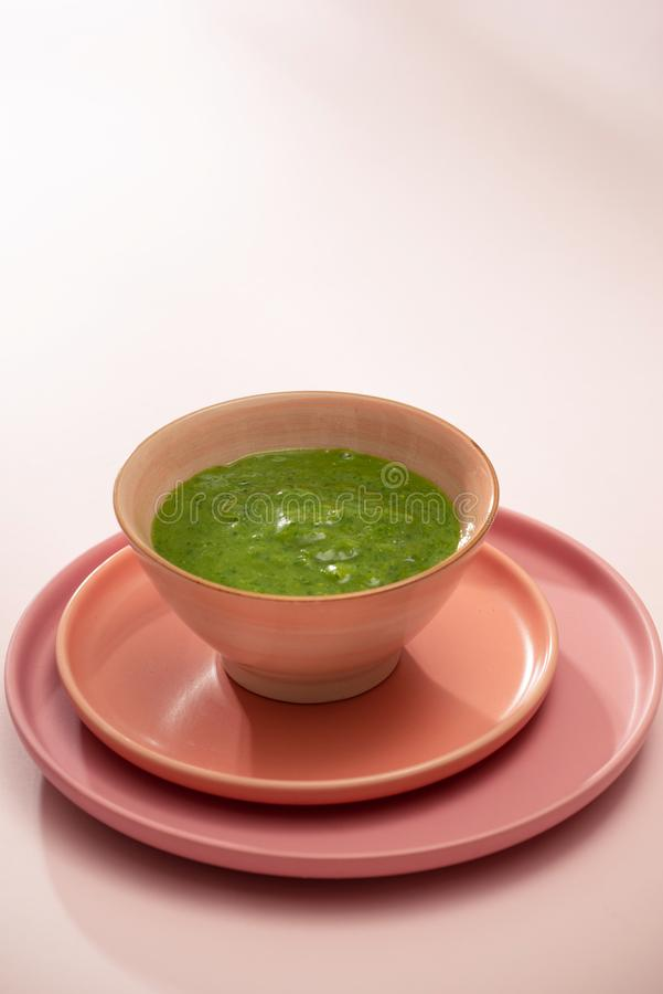 Homemade vegetable baby food. Broccoli puree for baby.  royalty free stock photos