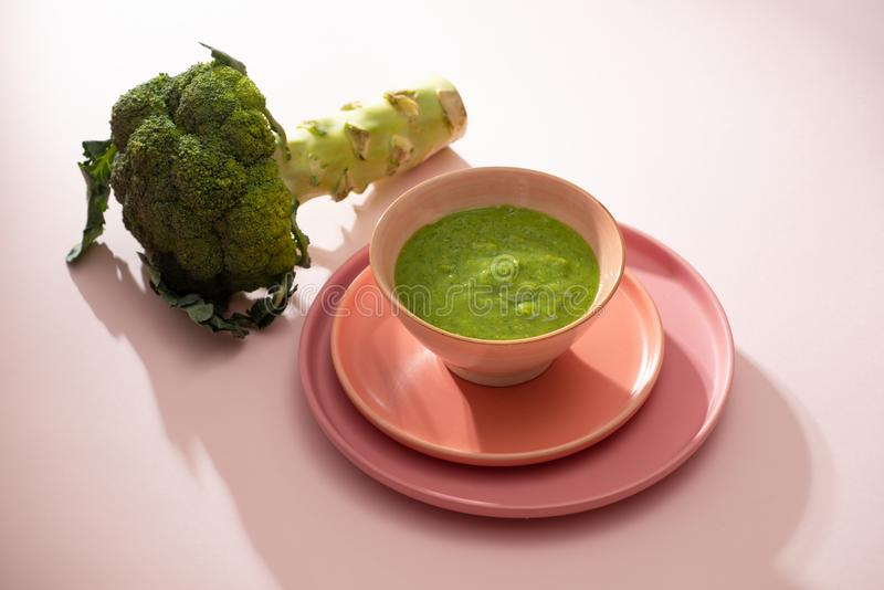 Homemade vegetable baby food. Broccoli puree for baby.  royalty free stock image