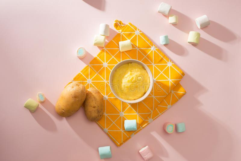 Homemade vegetable baby food. Potato puree for baby.  royalty free stock image
