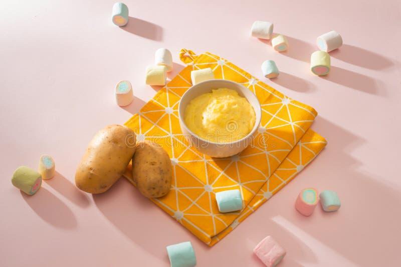Homemade vegetable baby food. Potato puree for baby.  stock image