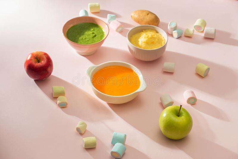Homemade vegetable baby food purees in bowl.  royalty free stock images