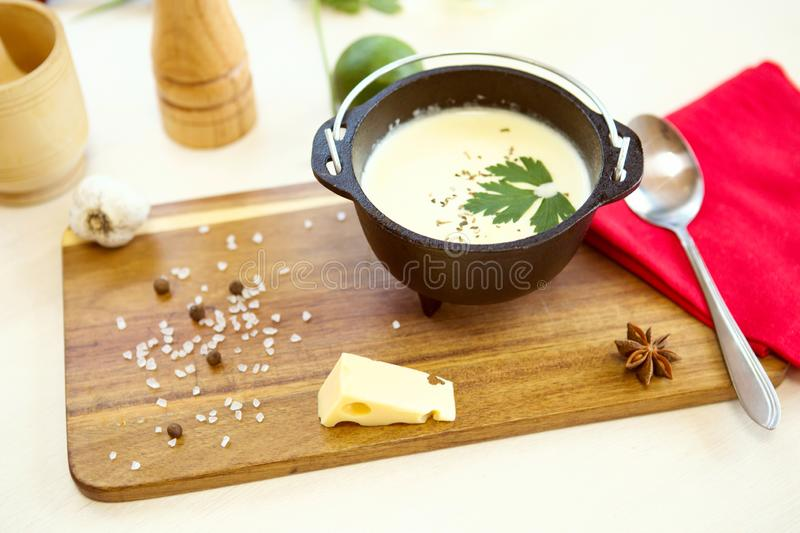 Homemade vegetable cheese soup with croutons. Healthy diet vegetarian fresh organic cream soup meal food stock photos