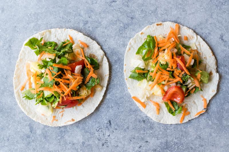 Homemade Vegetarian Tostadas with Salad and Polished Carrot Slices. royalty free stock photos