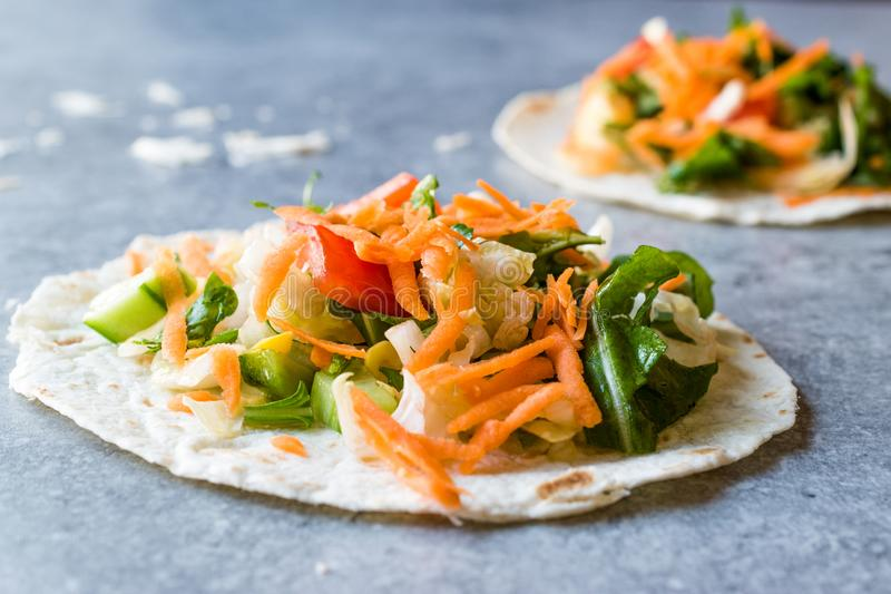 Homemade Vegetarian Tostadas with Salad and Polished Carrot Slices. stock photos