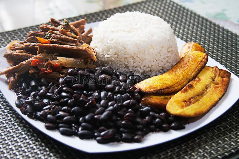 Homemade Venezuelan food. Traditional Venezuelan dish. Pabellon Criollo. White Rice, Black beans,Fried plantains, and Shredded beef stock photography