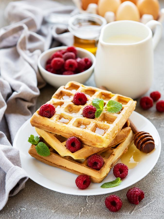 Homemade waffles with berries. In plate on a concrete background stock images