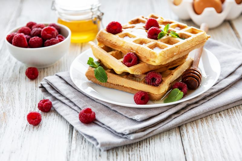 Homemade waffles with berries. In plate on a old wooden background stock image