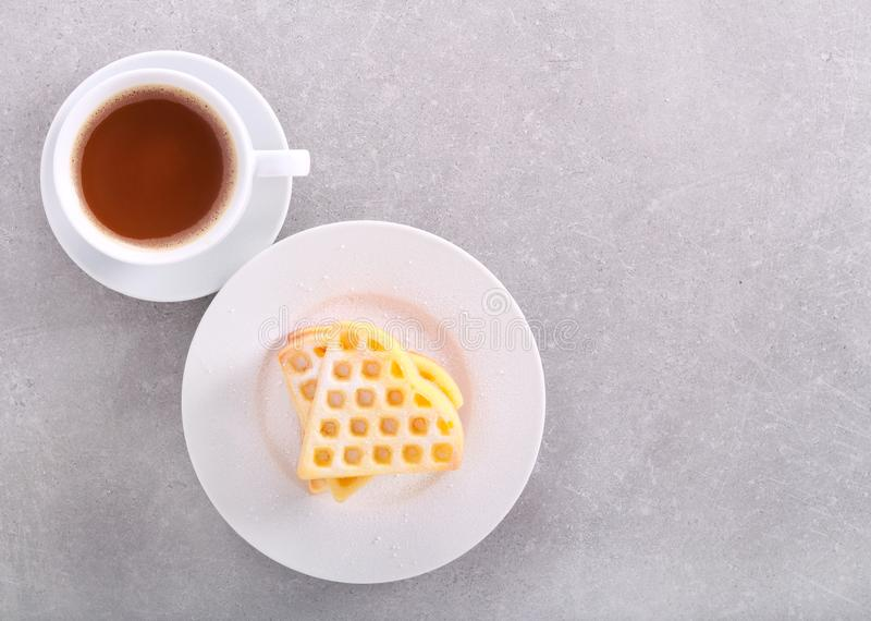 Homemade waffles. With icing sugar stock photos