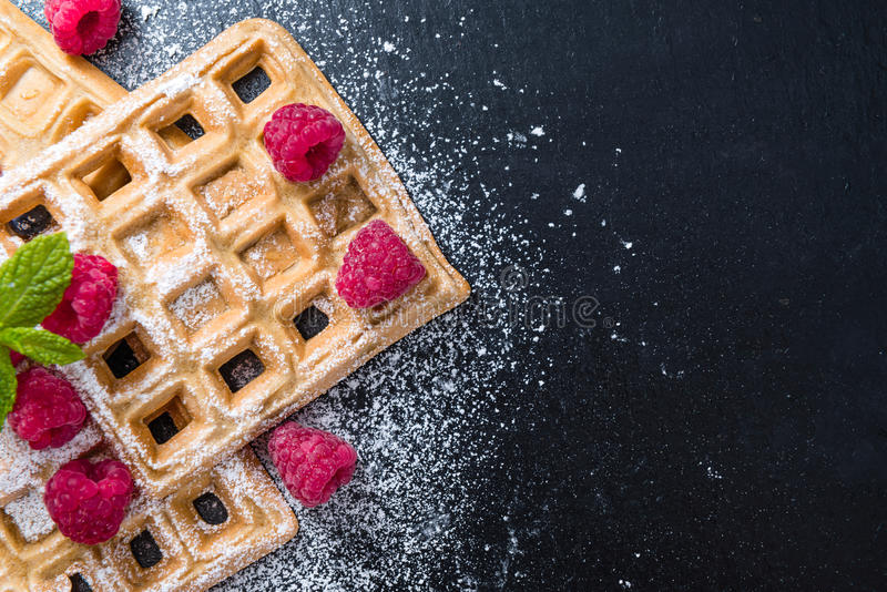 Homemade Waffles with Raspberries stock photos