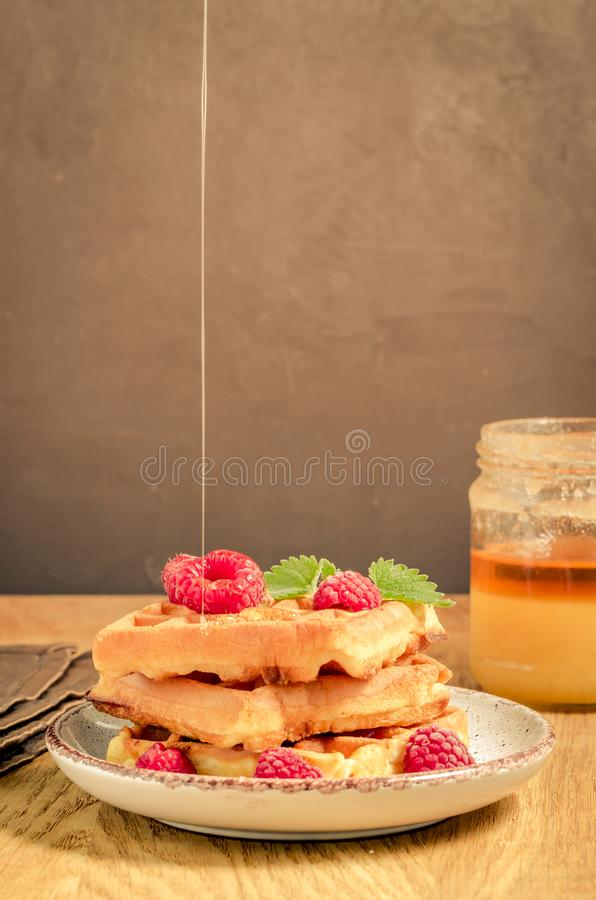 Homemade Waffles With raspberry in plate on a dark background/Homemade waffles With raspberry in plate on a dark background with. Copy space, selective focus royalty free stock photos