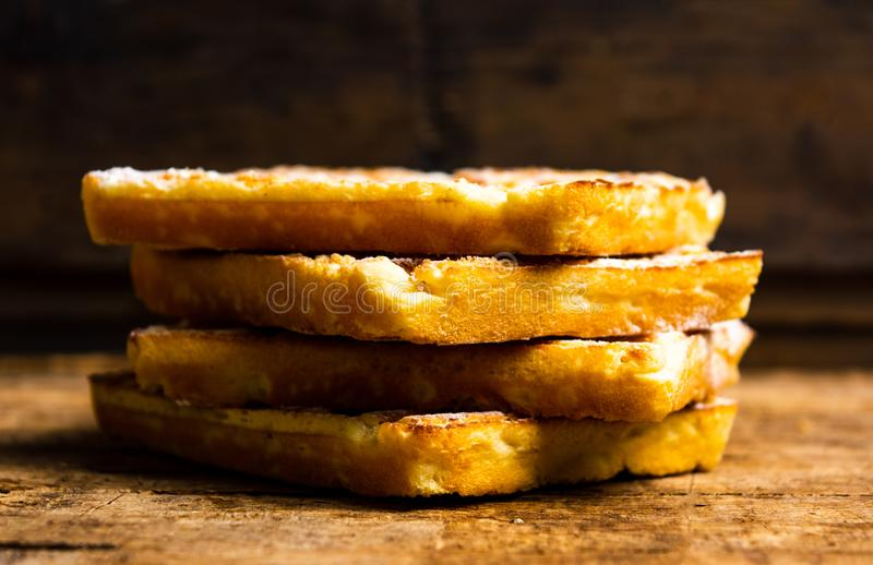Homemade waffles on a rustic table stock photography