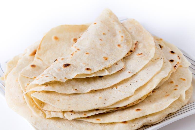 Homemade wheat tortilla pile stock photos