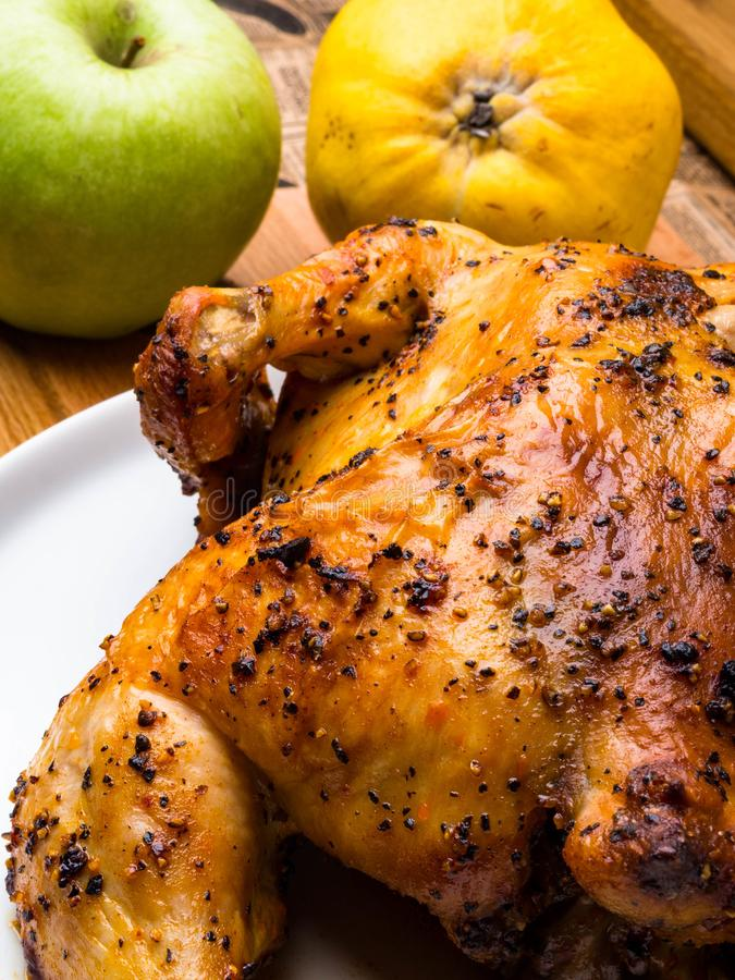 Homemade whole baked Christmas stuffed chicken or turkey served stock image