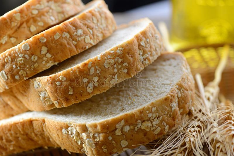Homemade Whole wheat bread cut on slices. Whole wheat bread cut on slices stock images