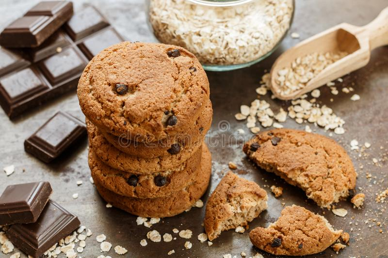 Homemade whole wheat oatmeal cookies with chocolate chips stock photo