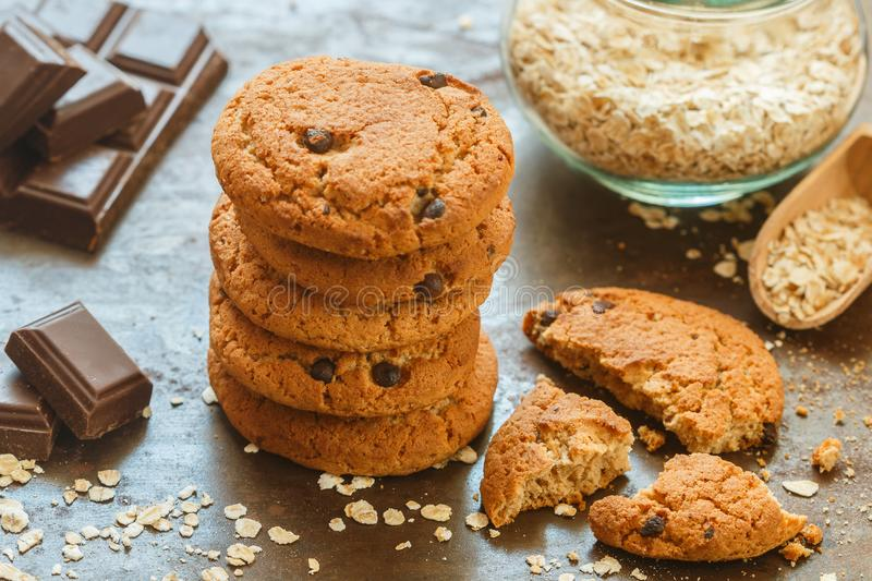 Homemade whole wheat oatmeal cookies with chocolate chips stock images