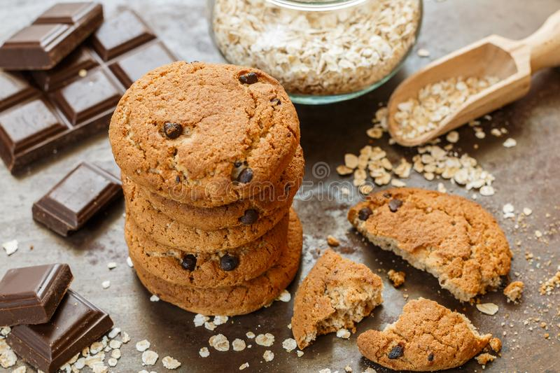 Homemade whole wheat oatmeal cookies with chocolate chips stock photography