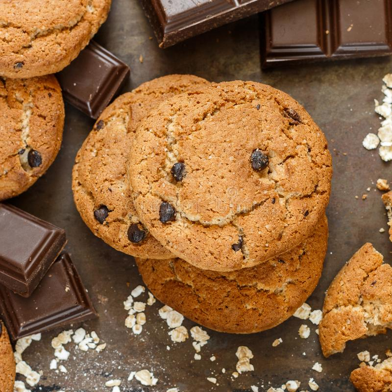 Homemade whole wheat oatmeal cookies with pumpkin and chocolate chips stock photo