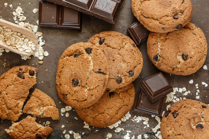 Homemade whole wheat oatmeal cookies with pumpkin and chocolate chips stock photography