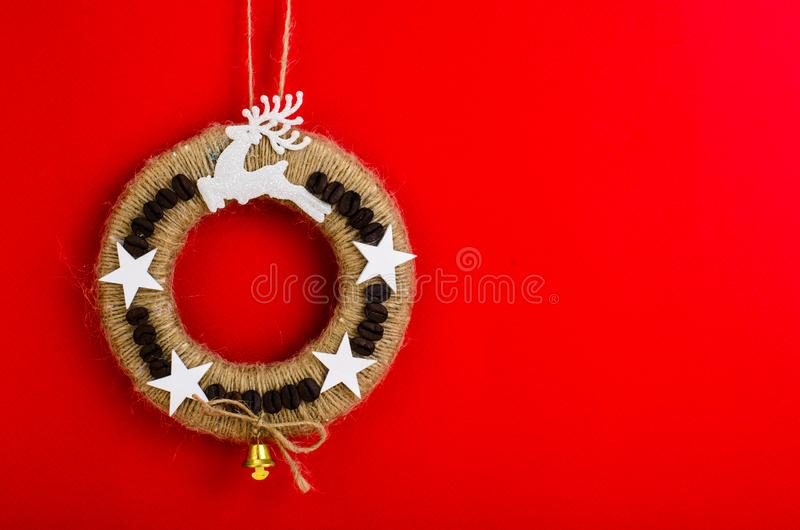 Homemade wicker Christmas crafts. Studio Photo royalty free stock image
