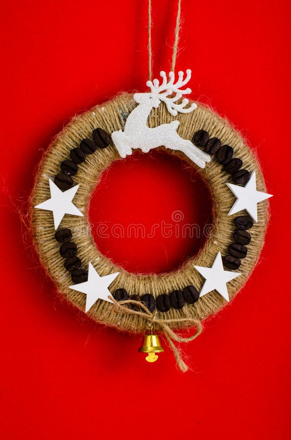 Homemade wicker Christmas crafts royalty free stock photography