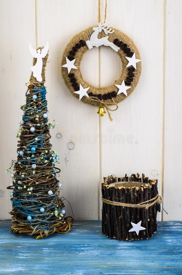 Homemade wicker Christmas crafts stock photo