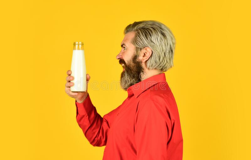 Homemade yoghurt. Simple tutorial for how to make yogurt. Bearded man hold milk bottle. Probiotic characteristics. Creamy and absolutely delicious yogurt royalty free stock photo