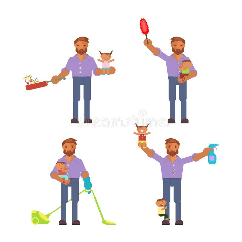 Homemaker is cleaning vector illustration