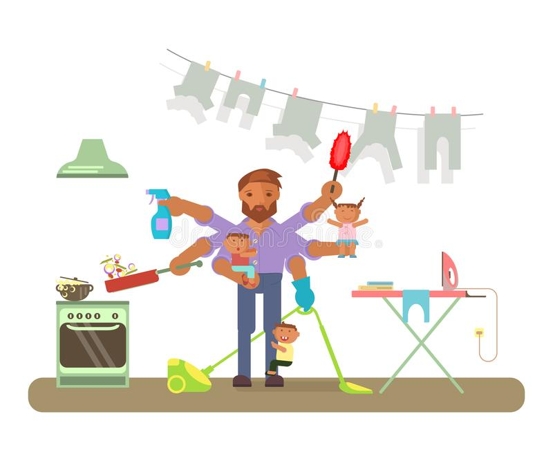 Homemaker is cleaning royalty free illustration