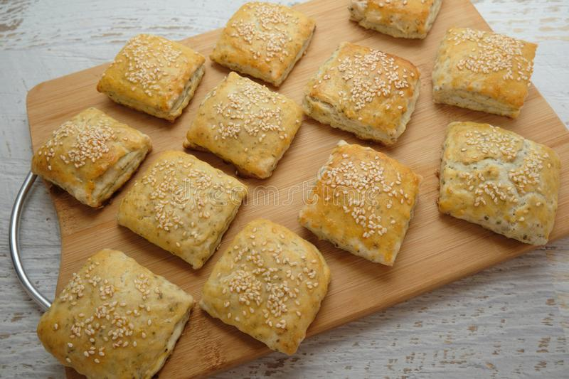 Homemietsbrood als snacks royalty-vrije stock afbeelding