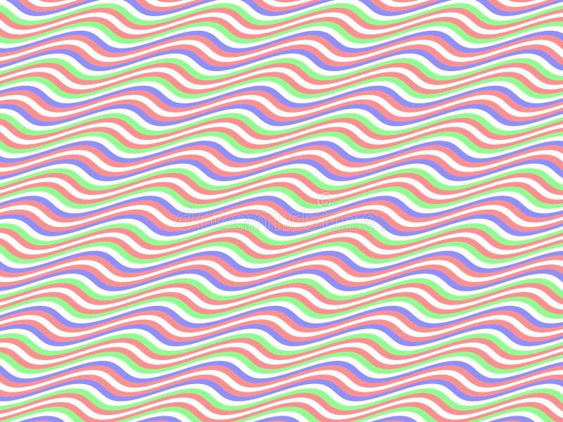 Homenagem da arte Op às listras horizontais Multicolor do BR ilustração stock