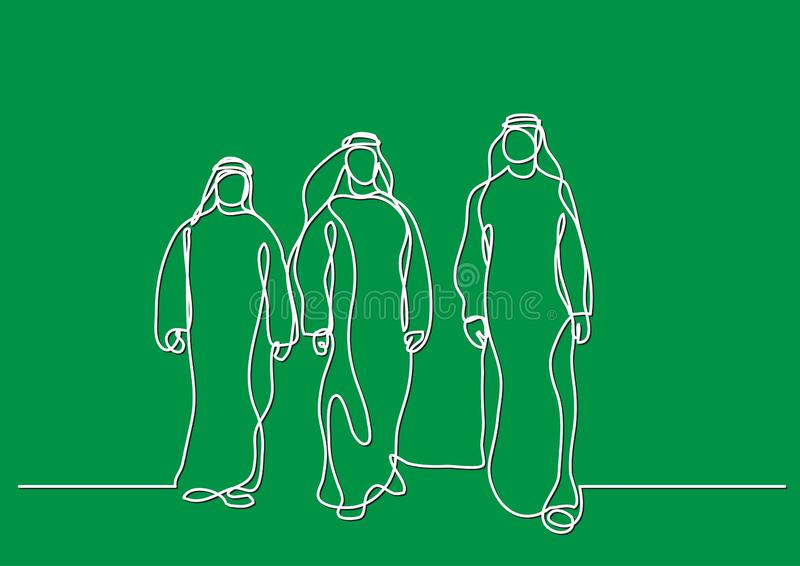 Homens árabes de passeio no keffiyeh - único a lápis desenho ilustração do vetor