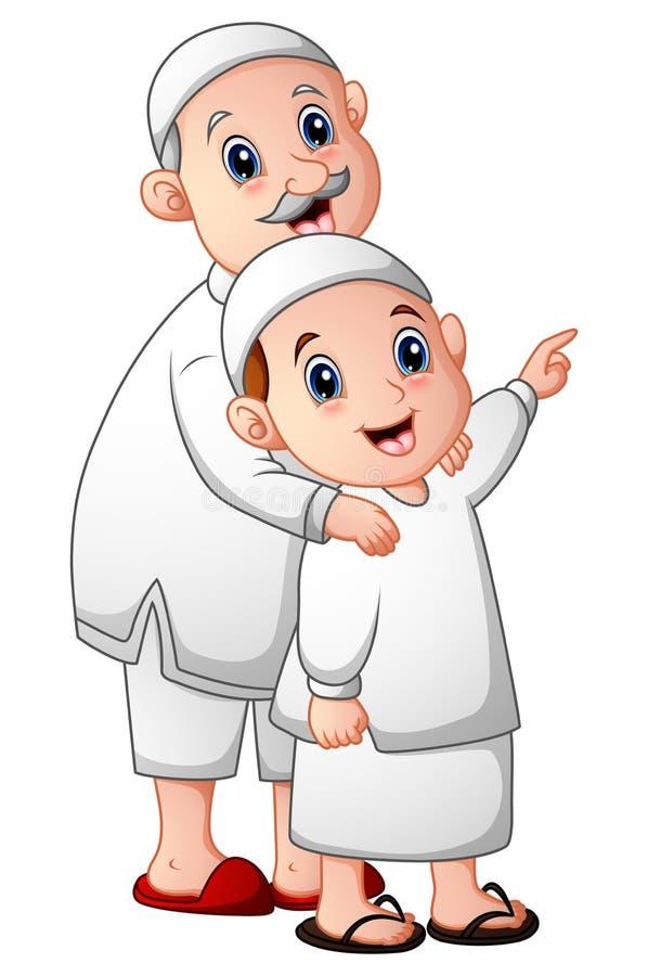 Homens adultos muçulmanos que mantêm seu neto isolado no fundo branco ilustração do vetor