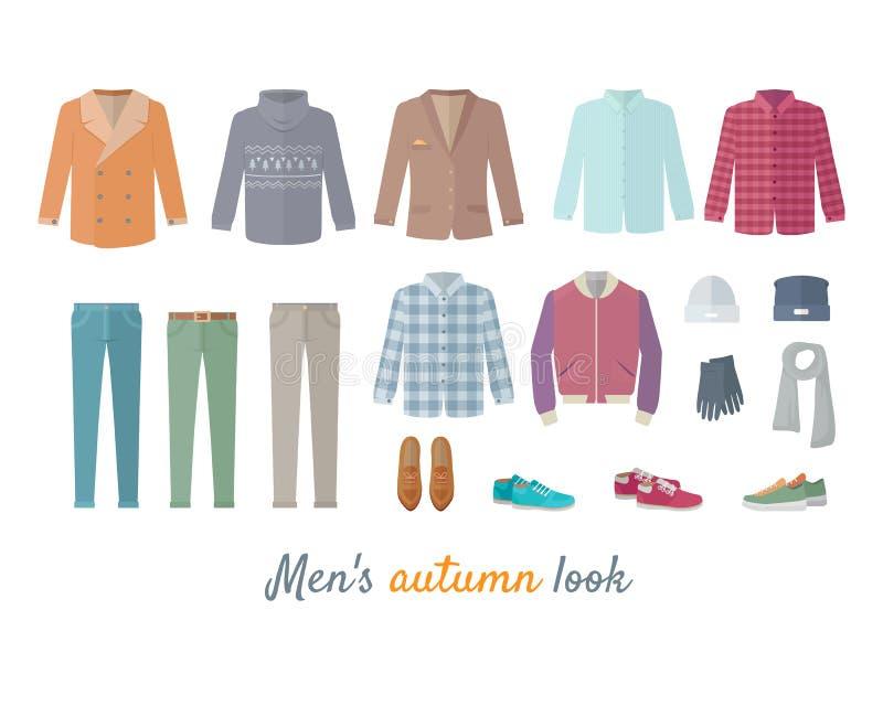 Homens Autumn Look Apparel Set roupa outerwear ilustração royalty free