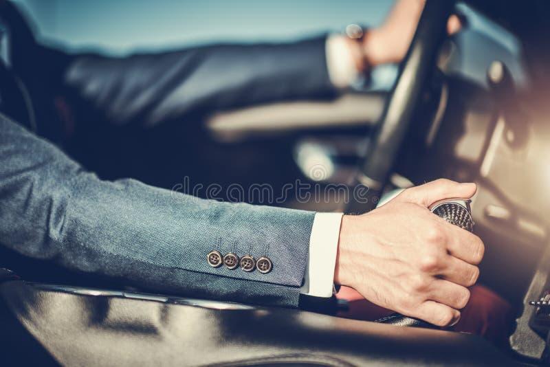 Homens bem sucedidos que conduzem o carro imagem de stock royalty free