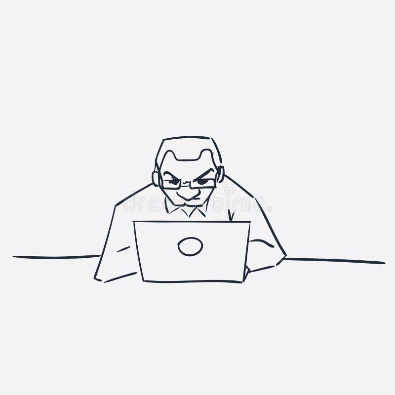 Homens com garatuja isolada esboço da ilustração do vetor do portátil ilustração do vetor