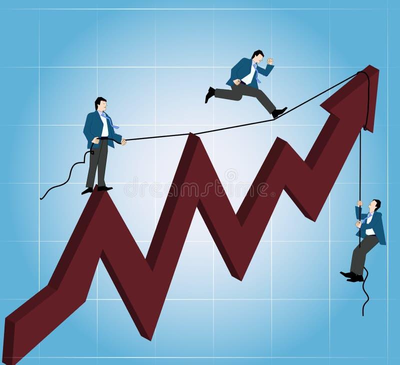 Homens corporativos que escalam acima ilustração do vetor