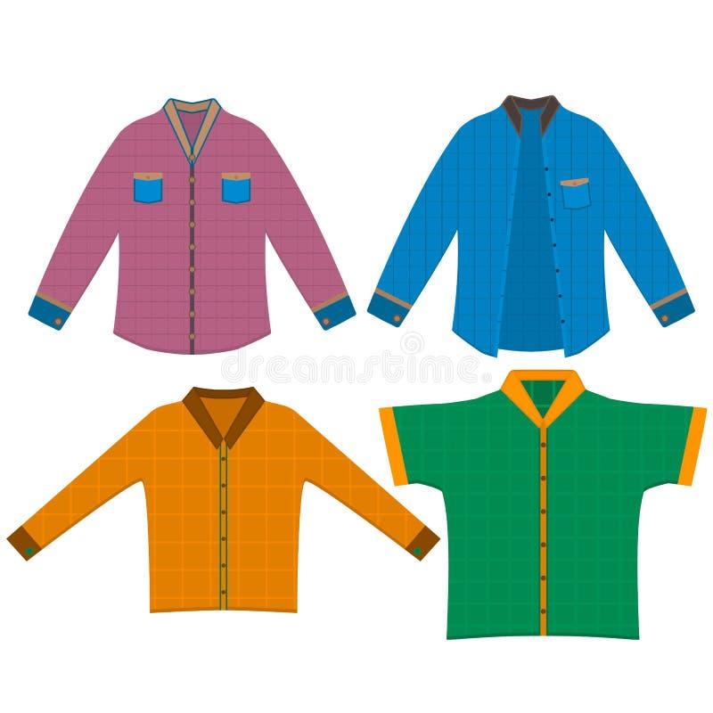 Homens curtos e botão formal por muito tempo sleeved abaixo das camisas ilustração do vetor